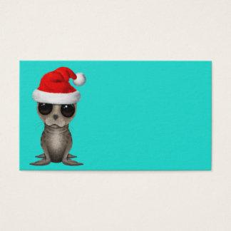 Tarjeta De Visita Cría de foca que lleva un gorra de Santa