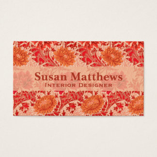 Tarjeta De Visita Crisantemos de William Morris, naranja coralino
