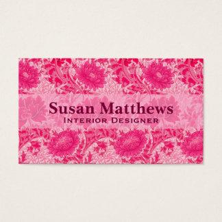 Tarjeta De Visita Crisantemos de William Morris, rosa del fucsia