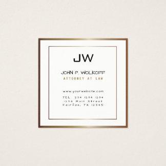 Tarjeta De Visita Cuadrada Abogado blanco minimalista de bronce clásico del