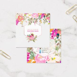 Tarjeta De Visita Cuadrada Acuarela de PixDezines/ramo florales de la