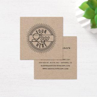 Tarjeta De Visita Cuadrada Añada su logotipo el | Kraft rústico
