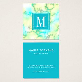 Tarjeta De Visita Cuadrada Artista de maquillaje de mármol azul y blanco