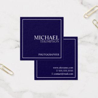 Tarjeta De Visita Cuadrada Azules marinos y blanco clásicos profesionales