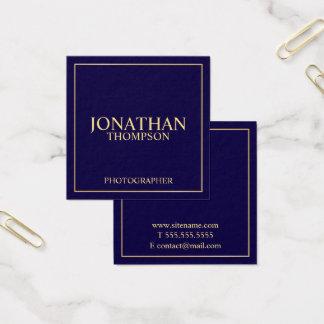 Tarjeta De Visita Cuadrada Azules marinos y oro elegantes profesionales