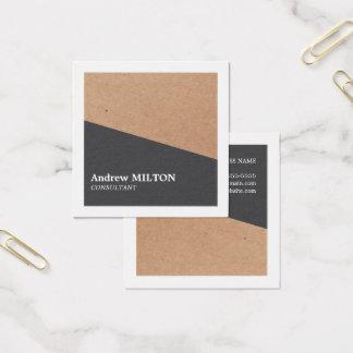 Tarjeta De Visita Cuadrada Blanco gris elegante moderno de Kraft geométrico