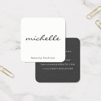 Tarjeta De Visita Cuadrada Blanco llano minimalista con el texto cursivo
