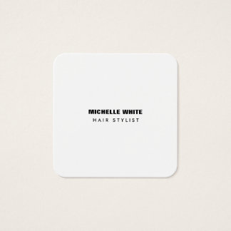 Tarjeta De Visita Cuadrada Blanco negro de moda minimalista moderno del