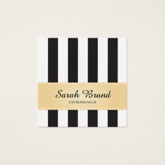 Tarjeta De Visita Cuadrada Blanco y negro rayado con falso oro