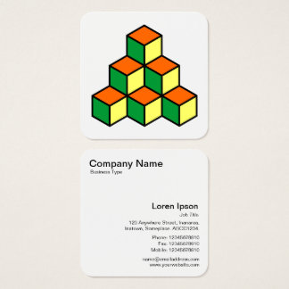 Tarjeta De Visita Cuadrada Bloques geométricos - naranja verde y amarillo