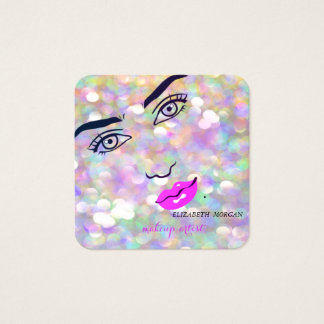 Tarjeta De Visita Cuadrada Bokeh elegante moderno, cara del chica, artista de