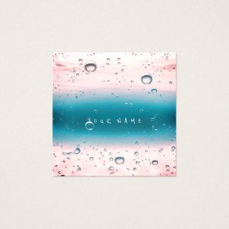 Tarjeta De Visita Cuadrada Bolas abstractas blancas rosadas del océano del