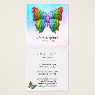Tarjeta De Visita Cuadrada Colores sociales del arco iris de la mariposa de