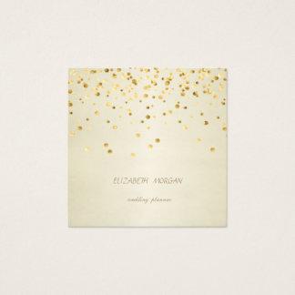 Tarjeta De Visita Cuadrada Confeti simple, falso elegante elegante del oro