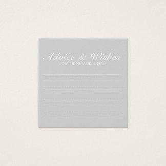 Tarjeta De Visita Cuadrada Consejo y deseos grises elegantes del boda