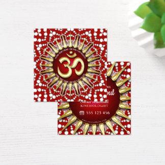 Tarjeta De Visita Cuadrada Cuadrado blanco rojo holístico de la mandala de OM
