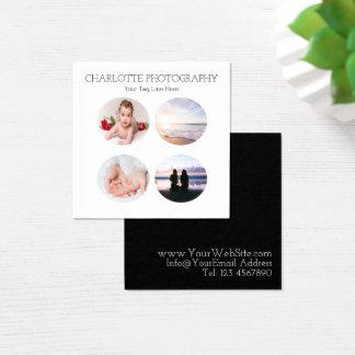 Tarjeta De Visita Cuadrada Cuadrado blanco y negro moderno de 4 fotografías