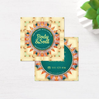 Tarjeta De Visita Cuadrada Cuadrado lindo de la mandala geométrica verde