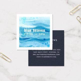 Tarjeta De Visita Cuadrada Cuidado o nadada azul de la piscina de la