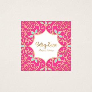 Tarjeta De Visita Cuadrada El oro color de rosa rosado lindo remolina artista