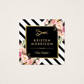 Tarjeta De Visita Cuadrada El oro Scissors el salón de belleza del estilista