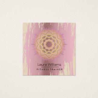 Tarjeta De Visita Cuadrada El vintage Lotus de la mandala subió al instructor