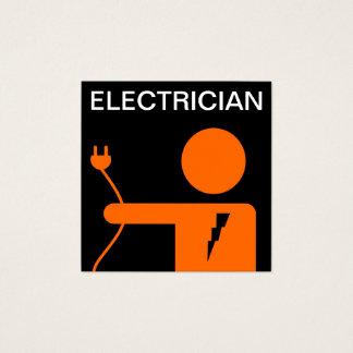 Tarjeta De Visita Cuadrada Electricista negro anaranjado moderno