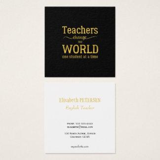 Tarjeta De Visita Cuadrada Escritura negra elegante de la tipografía de la