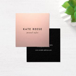 Tarjeta De Visita Cuadrada Estilista color de rosa de cobre elegante simple