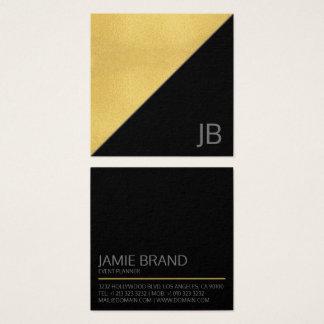 Tarjeta De Visita Cuadrada Falso oro moderno y monograma negro