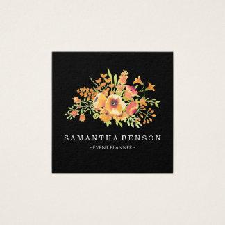 Tarjeta De Visita Cuadrada Floral con clase negro moderno de la acuarela