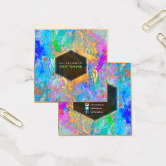 Tarjeta De Visita Cuadrada Galaxia abstracta de PixDezines/colores de neón