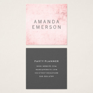 Tarjeta De Visita Cuadrada Grunge rosado minimalista
