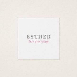 Tarjeta De Visita Cuadrada Hair&Makeup rosado blanco elegante minimalista