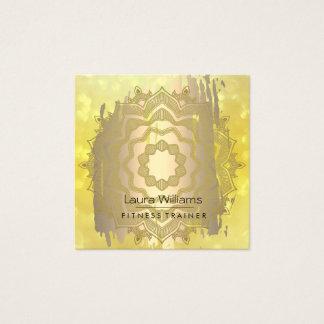 Tarjeta De Visita Cuadrada Instructor de la yoga del oro de la flor de Lotus