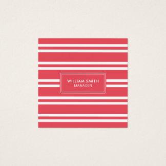 Tarjeta De Visita Cuadrada Líneas rojas suaves elegantes profesionales