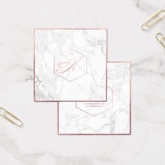 Tarjeta De Visita Cuadrada Mármol de PixDezines+Falso monograma color de rosa