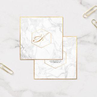 Tarjeta De Visita Cuadrada Mármol de PixDezines+Monograma elegante de la