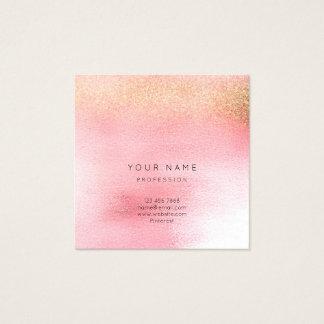 Tarjeta De Visita Cuadrada Melocotón color de rosa rosado blanco de cristal