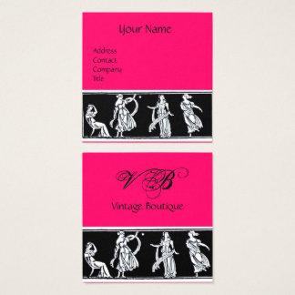Tarjeta De Visita Cuadrada Monograma ANTIGUO de las rosas fuertes del negro