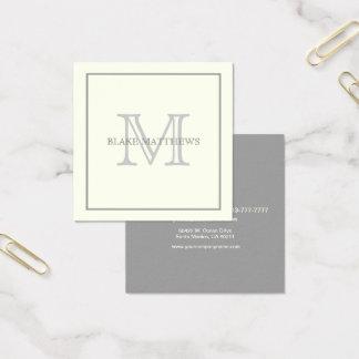 Tarjeta De Visita Cuadrada Monograma de encargo gris de marfil
