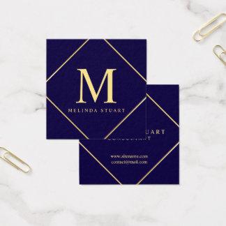 Tarjeta De Visita Cuadrada Monograma elegante de los azules marinos y del oro