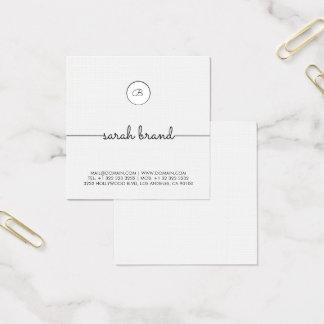Tarjeta De Visita Cuadrada Monograma minimalista elegante