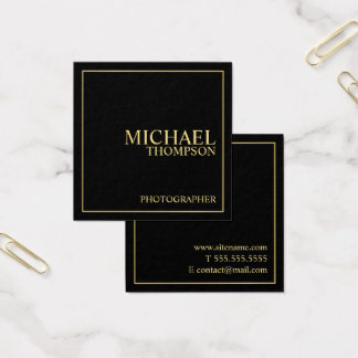 Tarjeta De Visita Cuadrada Negro elegante profesional y oro