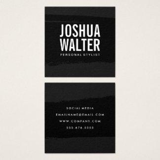 Tarjeta De Visita Cuadrada Negro intrépido simple del texto cepillado