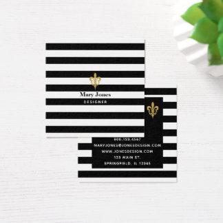 Tarjeta De Visita Cuadrada Negro y blanco raya la flor de lis
