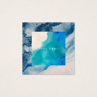 Tarjeta De Visita Cuadrada Océano azul de la acuarela de la pintura del
