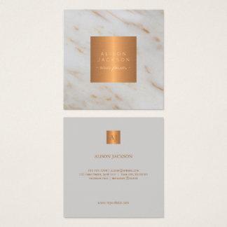 Tarjeta De Visita Cuadrada Oro de cobre metálico de mármol gris con monograma