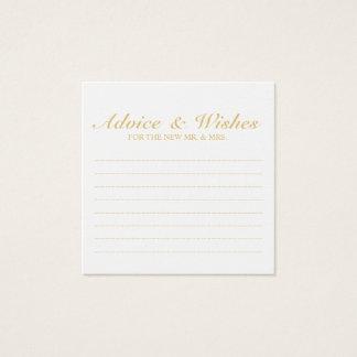 Tarjeta De Visita Cuadrada Oro elegante y consejo y deseos blancos del boda