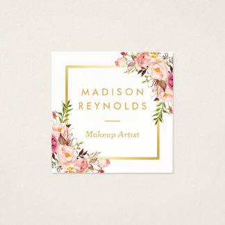 Tarjeta De Visita Cuadrada Personal floral rosado femenino del marco elegante